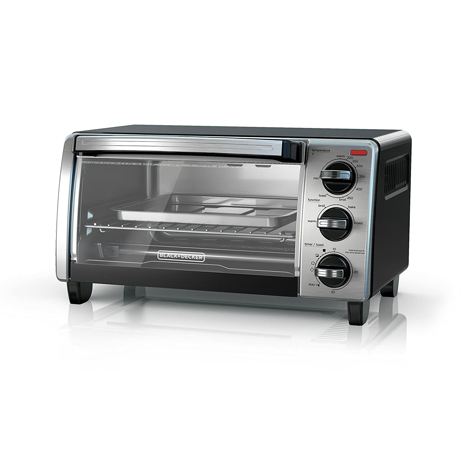 BLACK+DECKER4-Slice Toaster Oven with Natural Convection, Black, TO1750SB