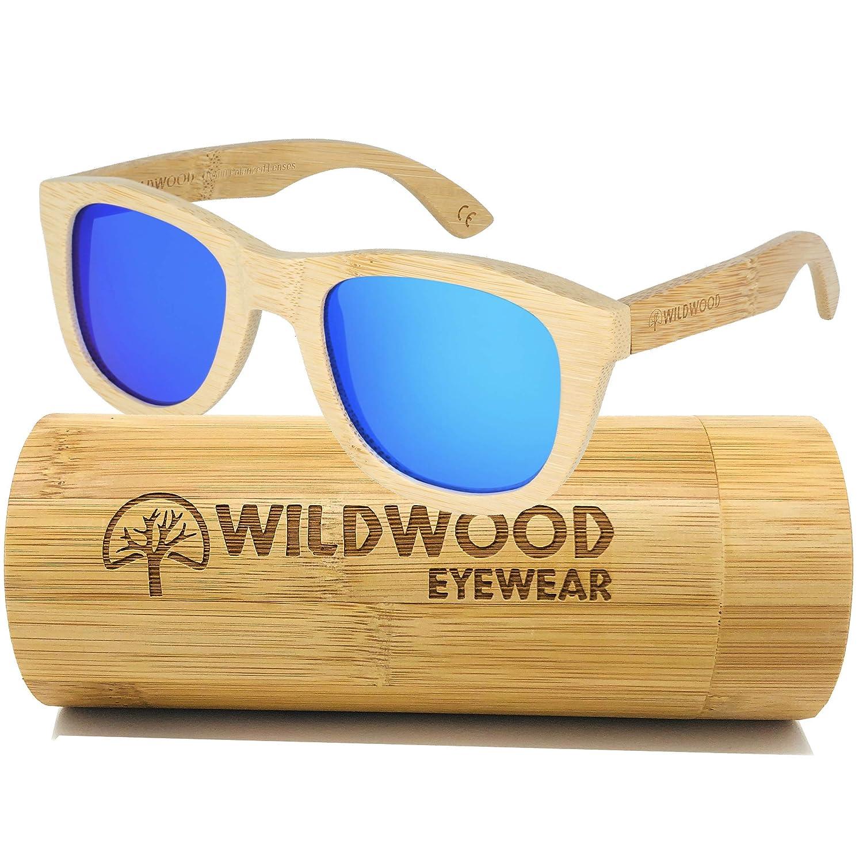 dcb8bb7cedb Amazon.com  Wildwood Unisex Bamboo Frame Wayfarer Polarized Sunglasses for  Men and Women (Blue Mirror)  Clothing