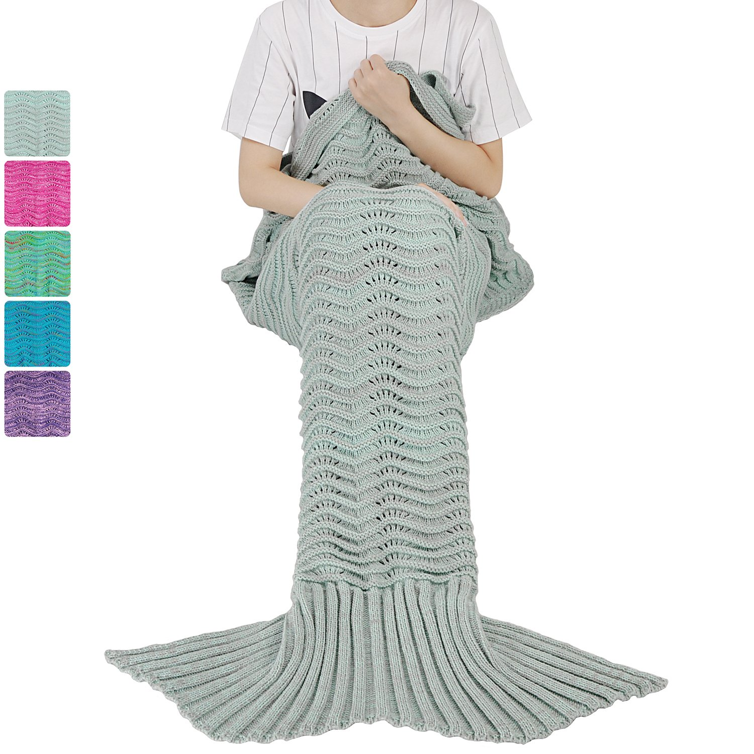 Mermaid Tail Blanket for Teen Girls with Anti-slip Neck Strap Wave Pattern | Soft Sleeping Bag for All Seasons Grey/Mint Green