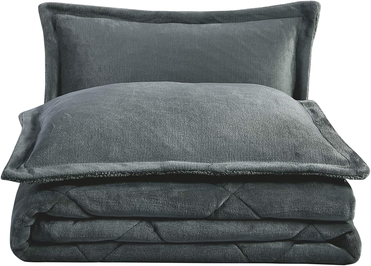 Chezmoi Collection 3-Piece Super Soft Micromink Sherpa Solid Reversible Down Alternative Comforter Set (Queen, Gray)