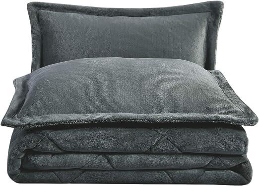 Chezmoi Collection 3-Piece Ultra Soft Down Alternative Comforter Set Gray