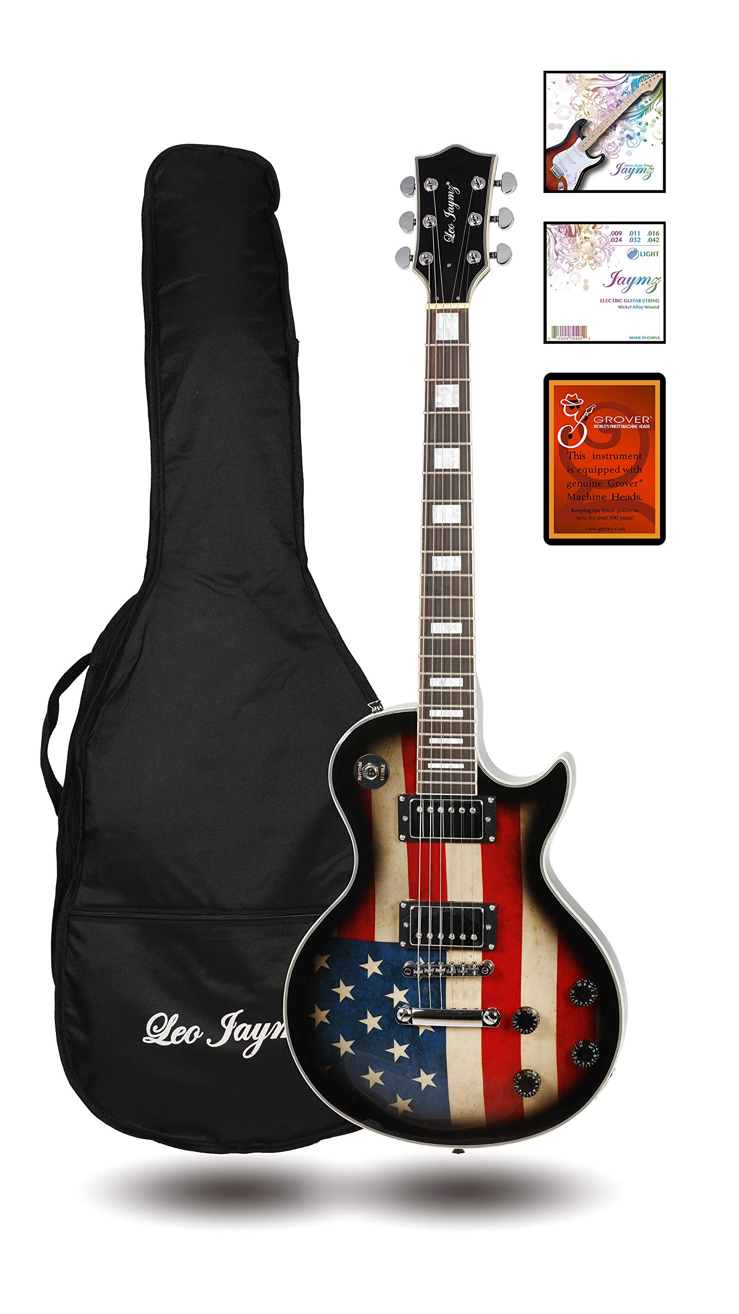 Leo Jaymz Single Cut Curved Top Electric Guitar for Beginner - with Special US Flag Sticker on Top - Grover Machine Heads Installed - Super Light String in 0.9 and Extra Set as Spare Parts