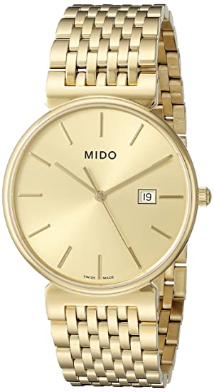 MIDO dorada oro Dial Chapado en oro Mens Reloj m0096103302100: Amazon.es: Relojes