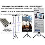 """TheDisplayDeal TM Tripod Stand for Banner and Board Sign, Adjustable Size up to 71""""H X 24""""W (Stand+2Rods-24"""")"""