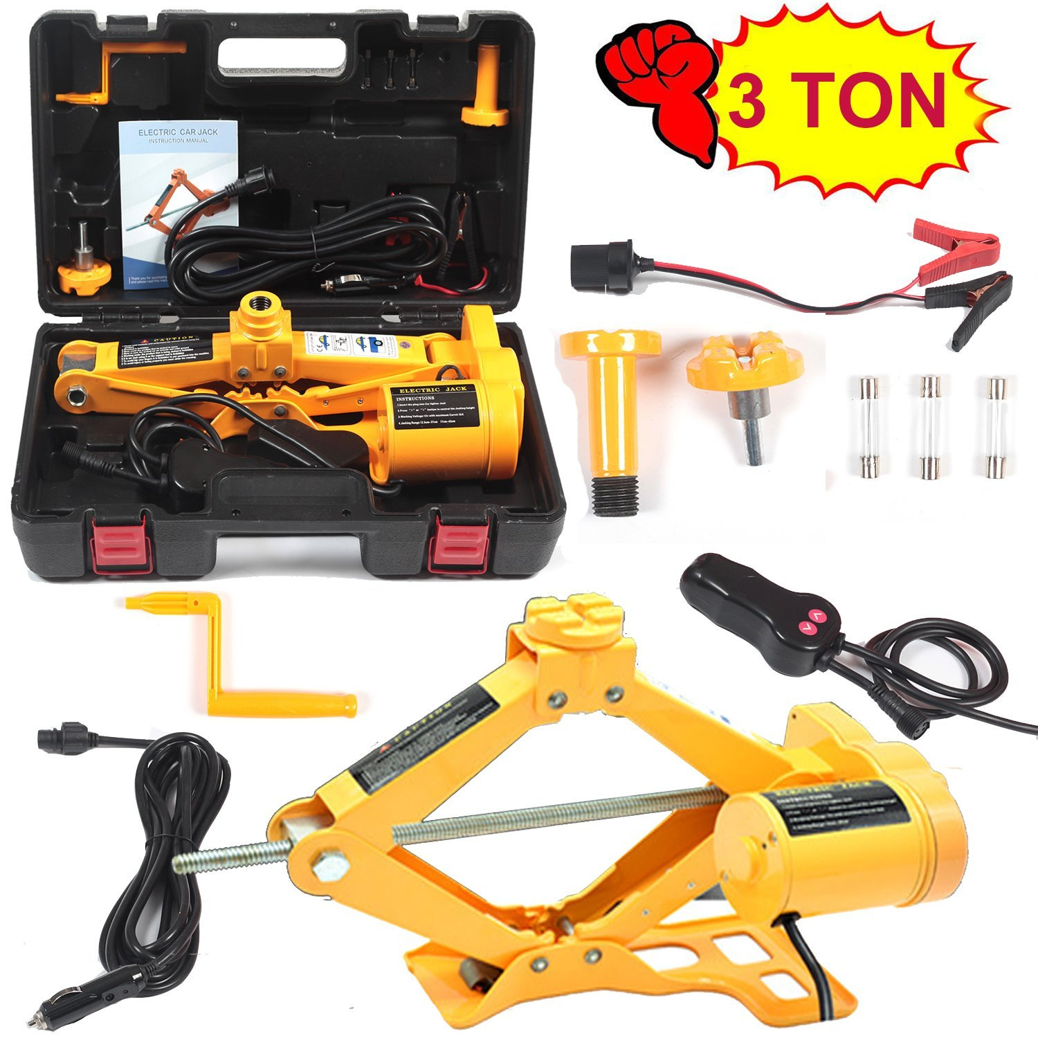 Electric Car Floor Jack 3 Ton All-in-one Automatic 12V Scissor Lift Jack Set for Sedans SUV w/Double Saddles Remote Hydraulic Tire Change Repair Emergency Tool Kits Vehicle Floor Jack Wheel Change
