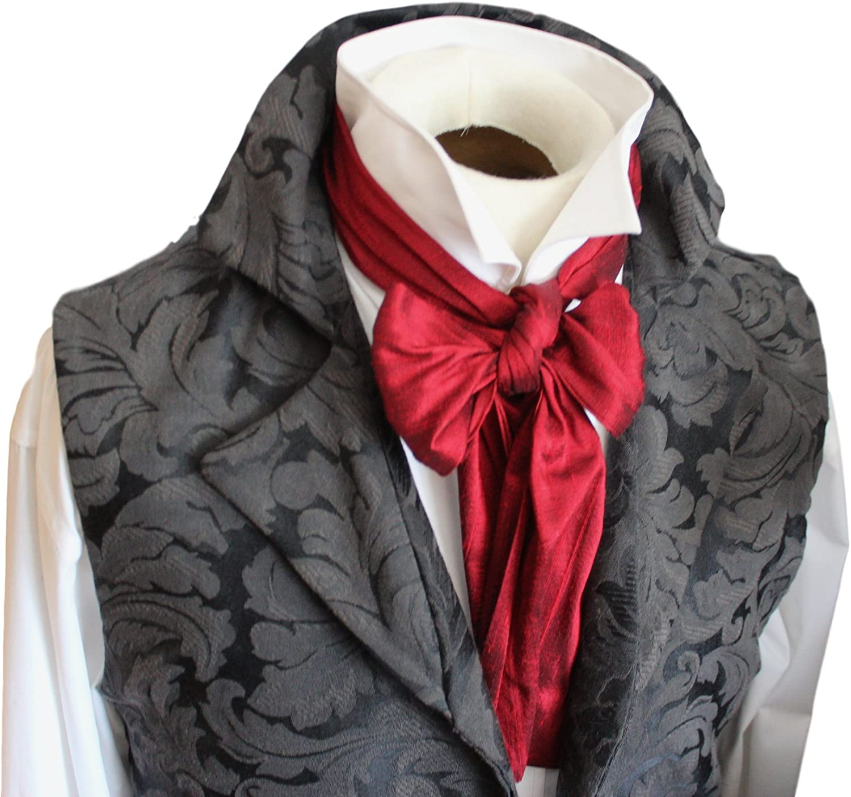 Elegantascot Mens Handmade Slim Regency Cravat Dupioni Silk Ascot Tie Plum