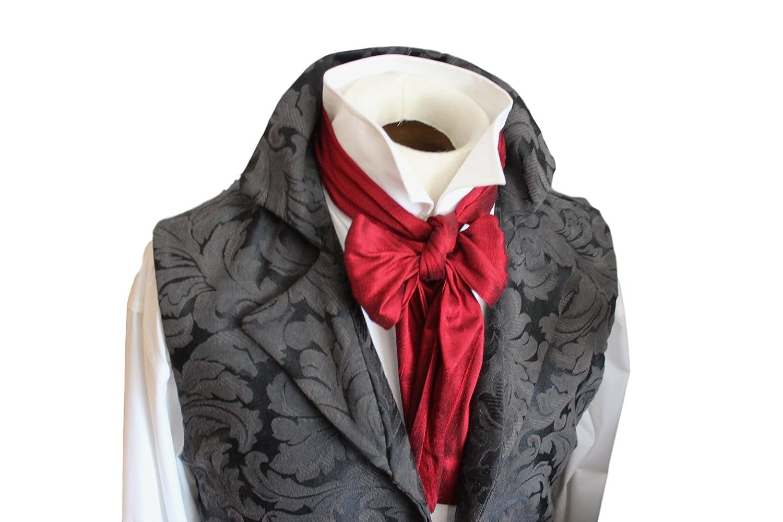 Elegantascot Men's Handmade Slim Regency Cravat Dupioni Silk Ascot Tie Reg_4inch_Black