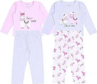 2 x Pijama Rosa y Gris de Llamas