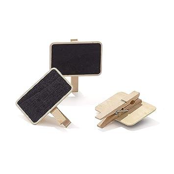 50 mini pinzas de madera con pizarra para decoración en ...