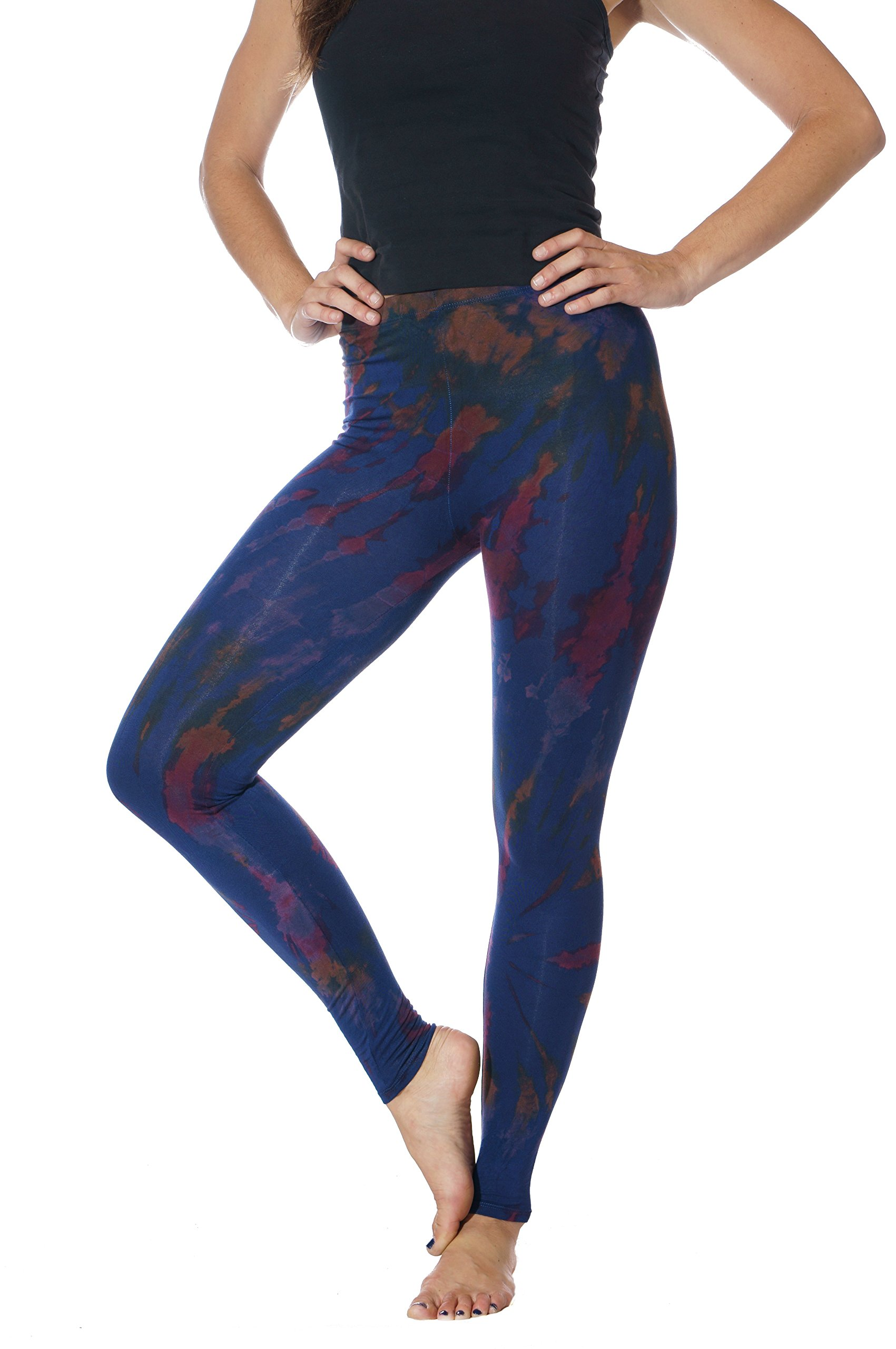 Tie Dye Cotton Spandex Leggings - Great for yoga, fashion, festival, everyday wear, hiking, travel, relaxing
