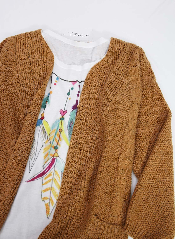 Futurino Women's Cable Twist School Wear Boyfriend Pocket Open Front Cardigan (One Size, Brown) by Futurino (Image #3)