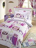 GIRLS REVERSIBLE DOUBLE DUVET QUILT COVER CHILDRENS BEDDING SET - OWL HOOT LILAC