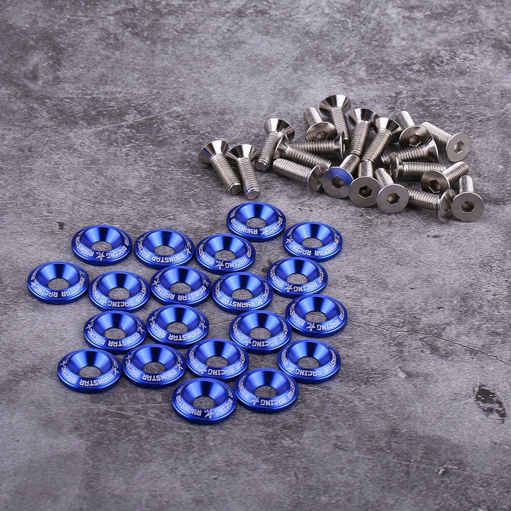 rojo Kit de Arandela de Motor de Arandela Plana de Aluminio de 20 Piezas Fydun Tornillo de Arandela de Guardabarros