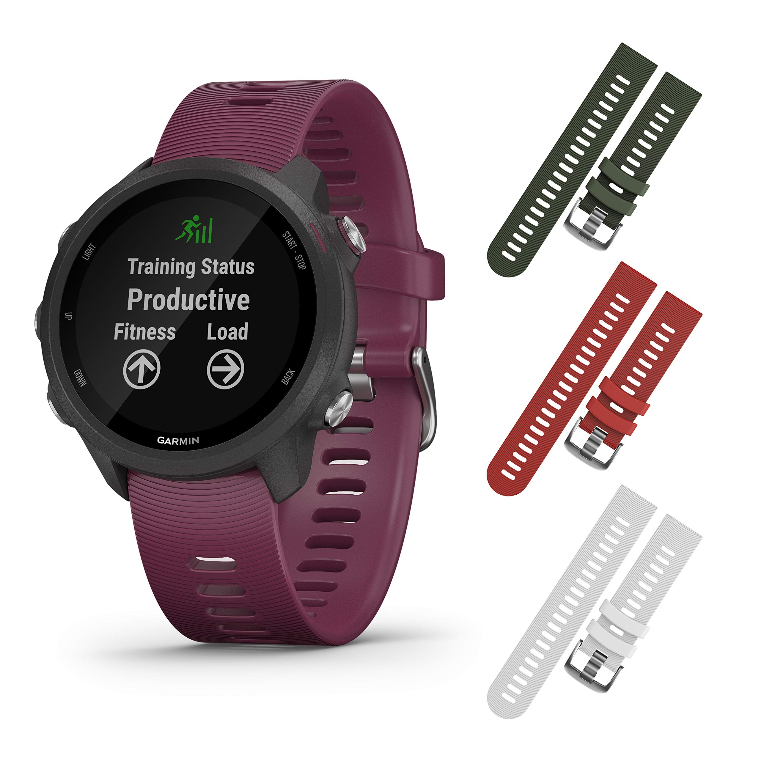 Garmin Forerunner 245 GPS Running Smartwatch with Included Wearable4U 3 Straps Bundle (Berry 010-02120-01, Khaki/Red/White)