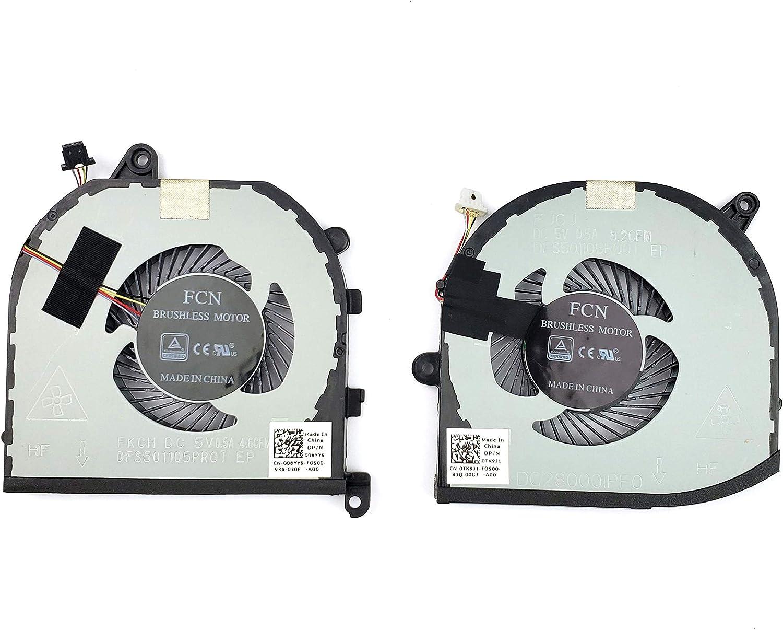 CPU GPU Cooling Fan for Dell XPS 15 9570 0TK9J1 008YY9 Pair Fan 0TK9J1 008YY9 (TK9J1 08YY9)