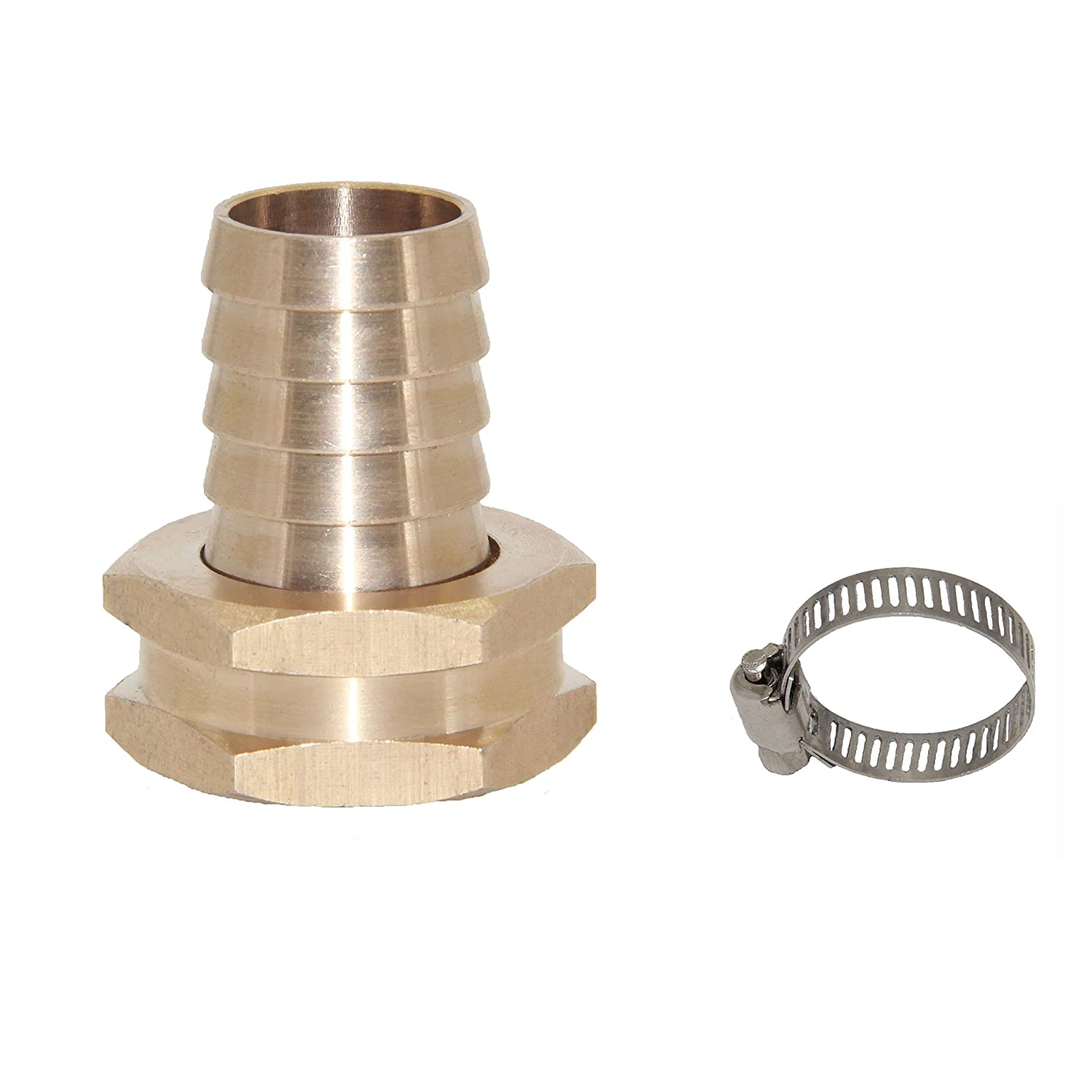 "Joyway 5/8"" Barb x 3/4"" Female GHT Thread Swivel Hex Brass Garden Water Hose Pipe Connector Copper Fitting with Stainless Clamp House/Boat / Lawn/Power Wash/Irrigation"