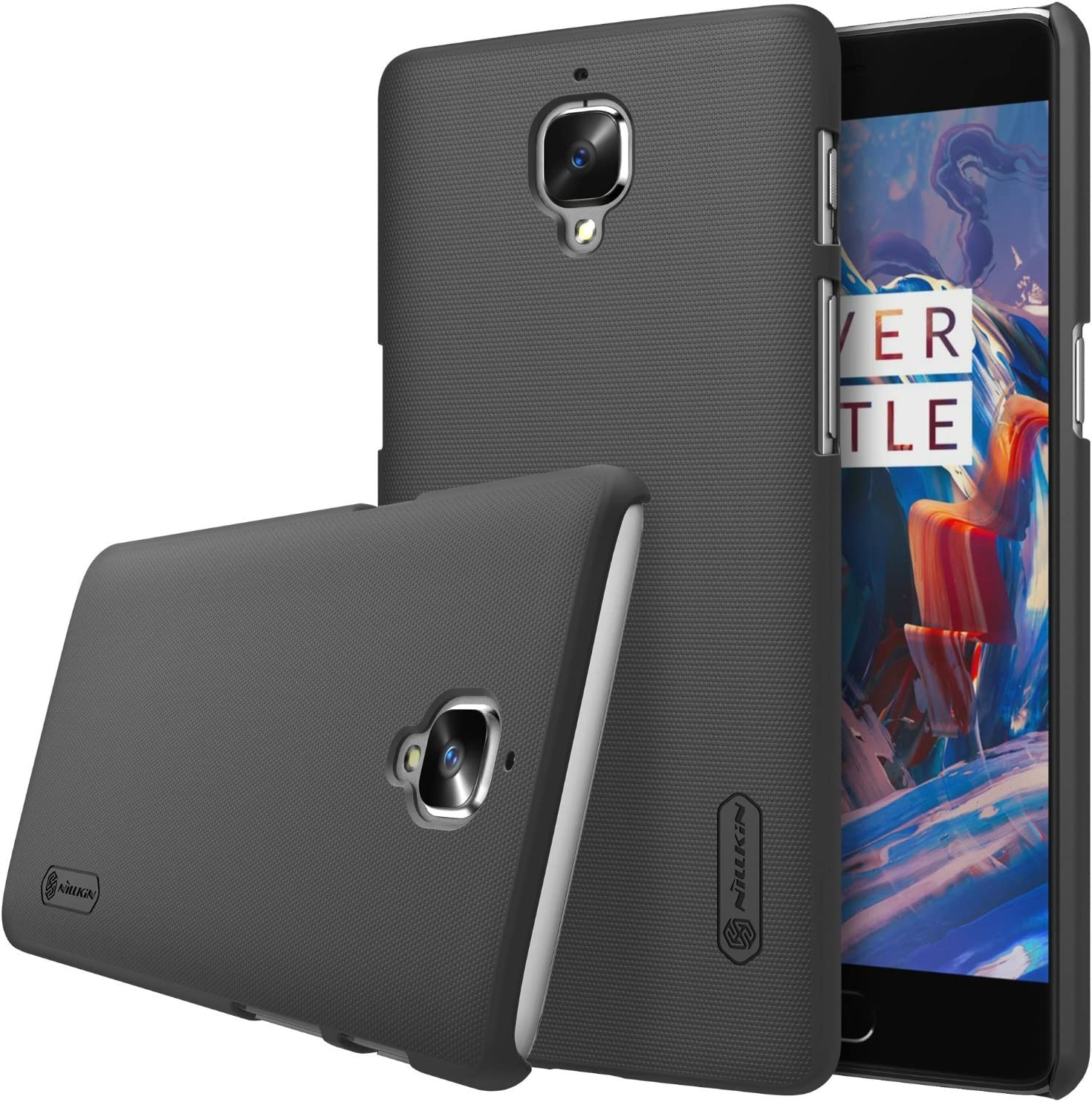 Oneplus 3 Case,Nillkin [With Kickstand] Frosted Shield Anti fingerprints Hard PC Case Back Cover for Oneplus 3-Retail Package (Black)