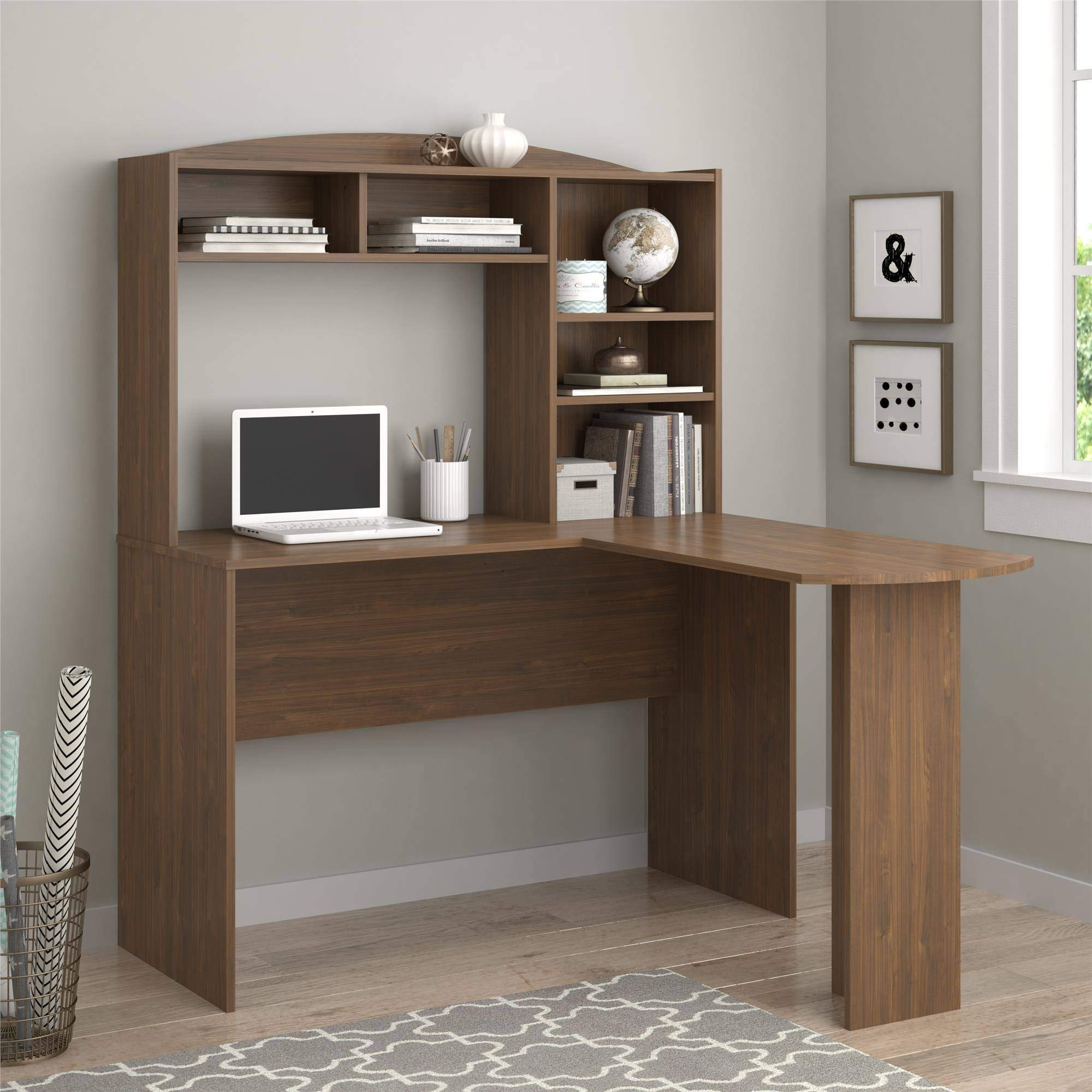 L Shaped Computer Desk - Walnut Wood with Hutch Five Shelves - Perfect Complement to Your Computer and Your Space