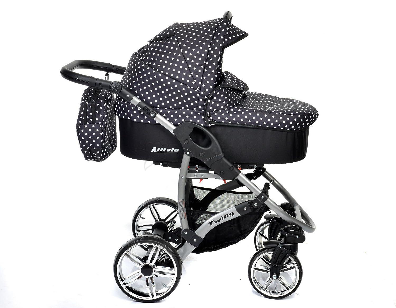 Allivio - Sistema de viaje 3 en 1, silla de paseo, carrito con capazo y silla de coche, RUEDAS GIRATORIAS y accesorios (Sistema de viaje 3 en 1, negro, ...