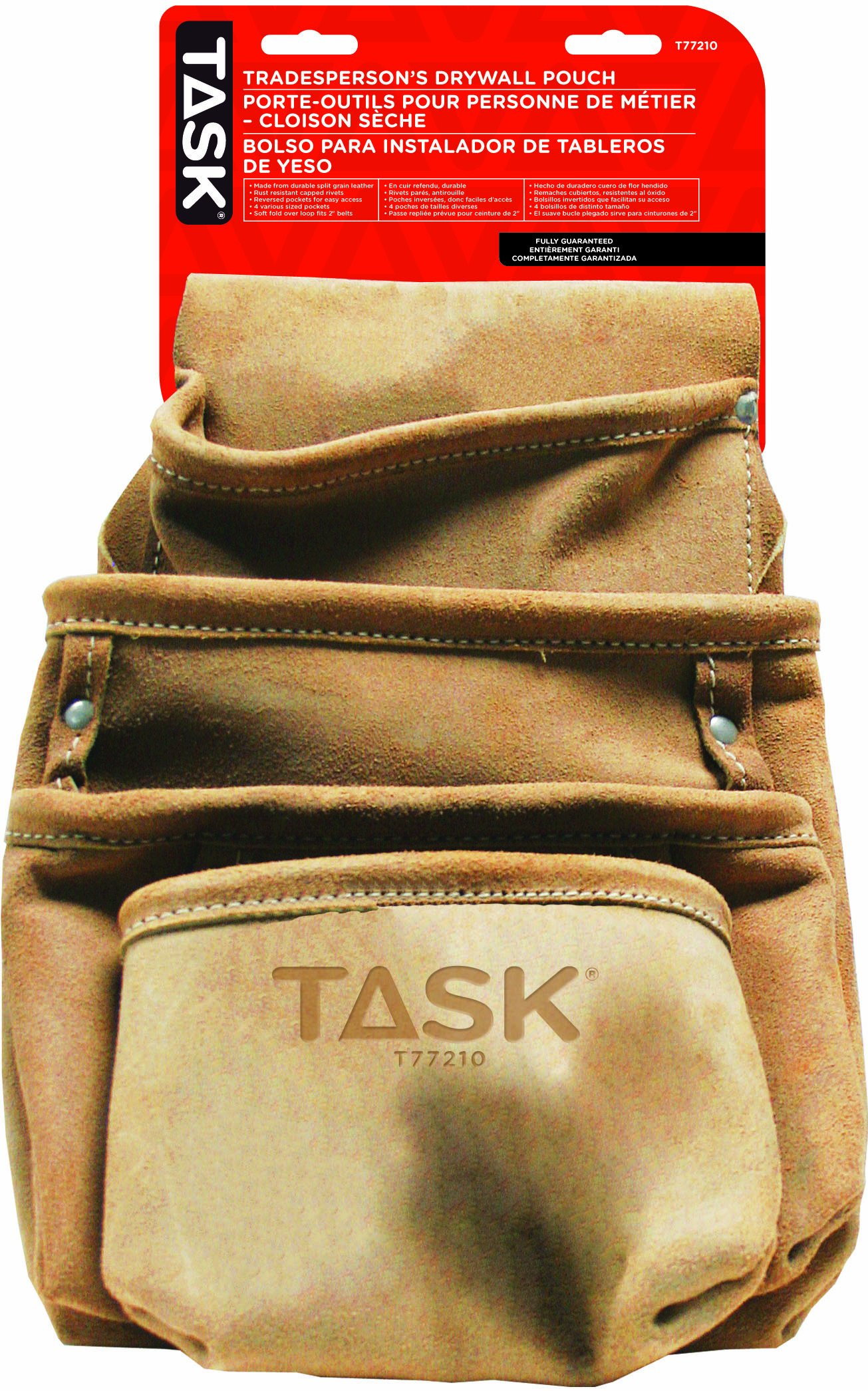 Task Tools T77210 Tradesperson's Leather Drywall Pouch, 4-Pocket