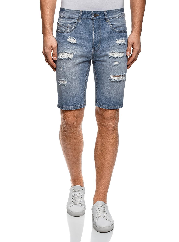 TALLA W31 / ES 40. oodji Ultra Hombre Pantalones Cortos Vaqueros con Agujeros
