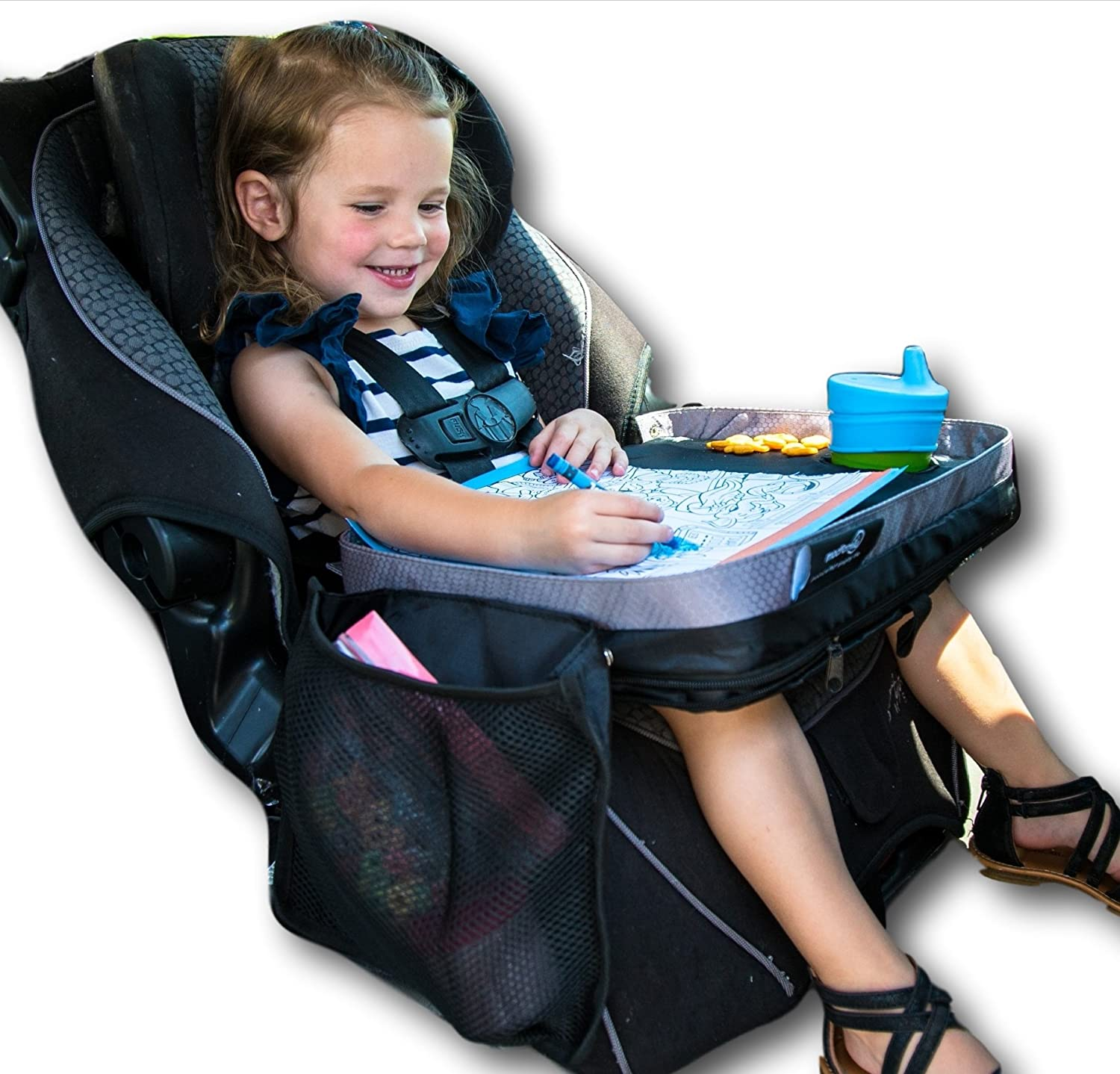 Kids E-Z Travel Lap Tray, Provides Organized Access to Drawing, Snacks and Activities for Hours on-The-go. Includes Bonus Printable Travel Games, Patent Pending (Blue) Modfamily.com MOD-7