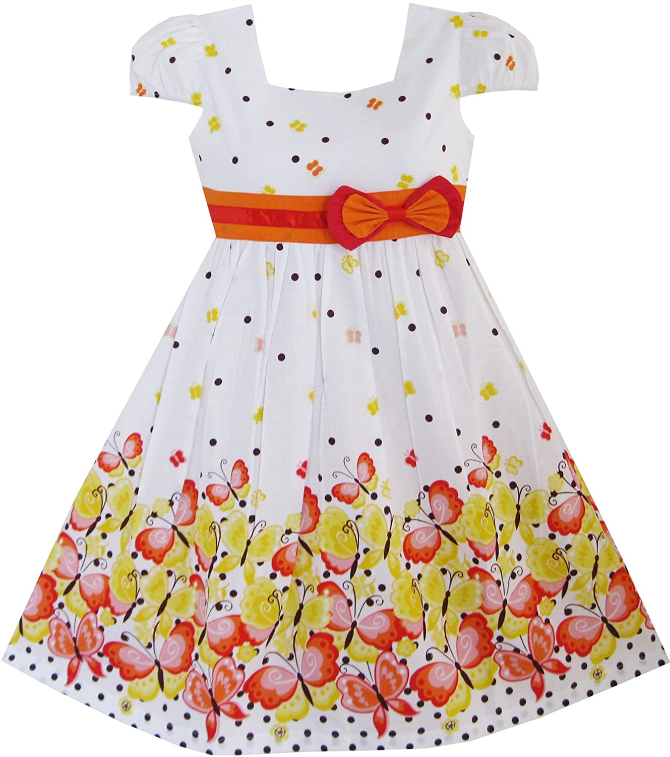 Sunny Fashion Girls Dress Short Sleeve Butterfly Dot School