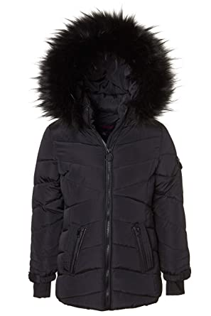 20f3d36776f Sportoli Girls' Heavy Quilt Lined Fashion Winter Jacket Coat Fur Trimmed  Hood