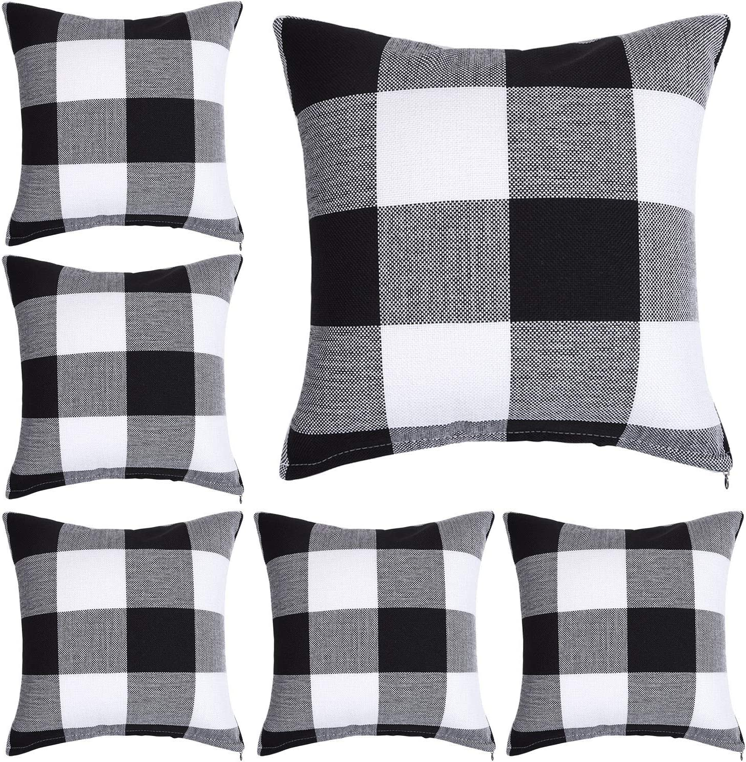 aneco 6 pieces buffalo plaid pillow covers white and black plaid pillow cases square decorative pillow covers 18 x 18 inches