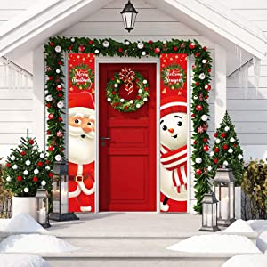Allenjoy Merry Christmas Welcome New Year Door Banner Santa Claus Snowman Red Hanging Wall Porch Sign Front Outdoor Indoor Polyester Decor 11.8x70.9 Inch Windproof Home Events Supplies 2PCS