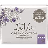 La Vie Organic Cotton Top Sheet* Feminine Pads with Wings, Overnight, Long, 40 Count (4 Packs of 10) (Packaging May Vary…