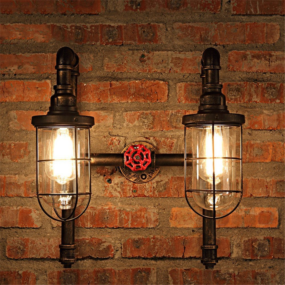 JINGUO Lighting Industrial Wall Sconce Water Pipe Double Head Wall Lamp Light Fixture Nautical Style with Bronze Metal Cage Frame and Clear Glass Shade for Restaurant Living Room Bedroom Bar Aisle