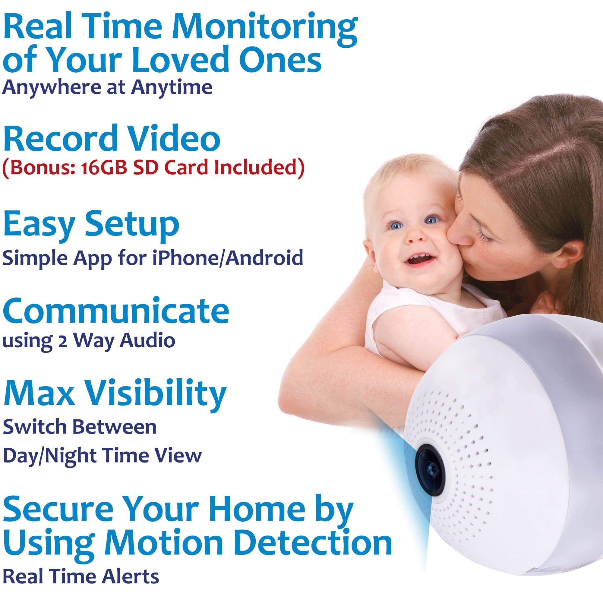 Details About Wifi Light Bulb Security Camera Bonus 16gb Sd Card 1080p Hd Fisheye Led 2 Way Switch 360 Live Feed Dome Audio Indoor Remote Home