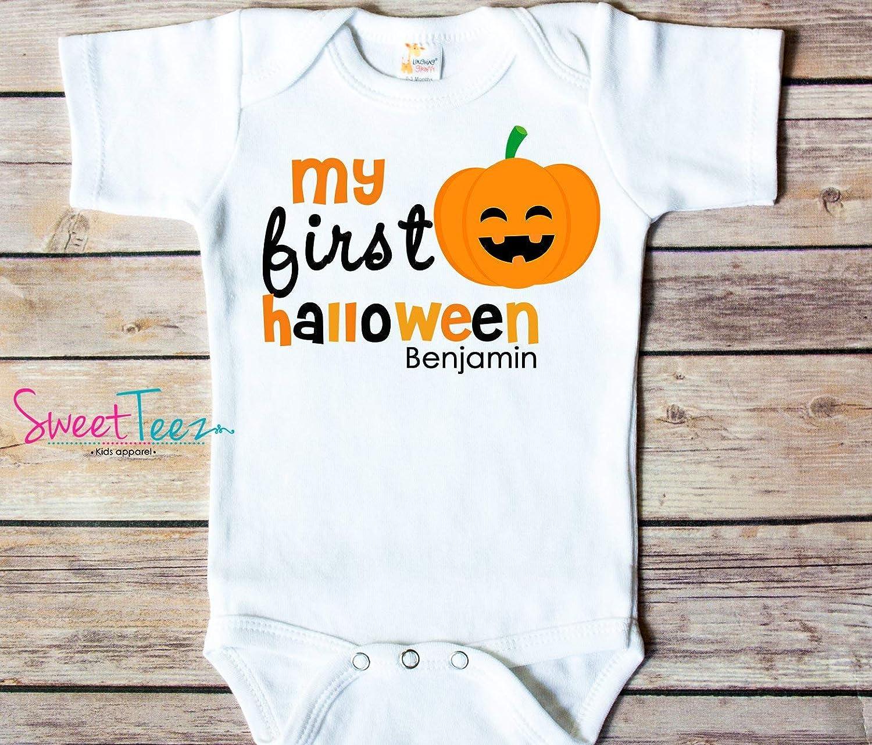 Personalized First Halloween Baby Bodysuit Pumpkin My 1st Halloween Shirt