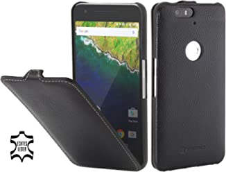 StilGut UltraSlim Case, Custodia in Pelle con Funzione On/off per Google Nexus 6P, Nero