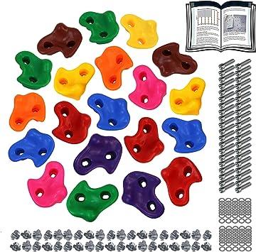 ALPIDEX Presas de Escalada para niños , Capacidad de Carga 200 kg , Material de fijación Incluido , Diferentes cantidades Multicolores - 20 Piezas