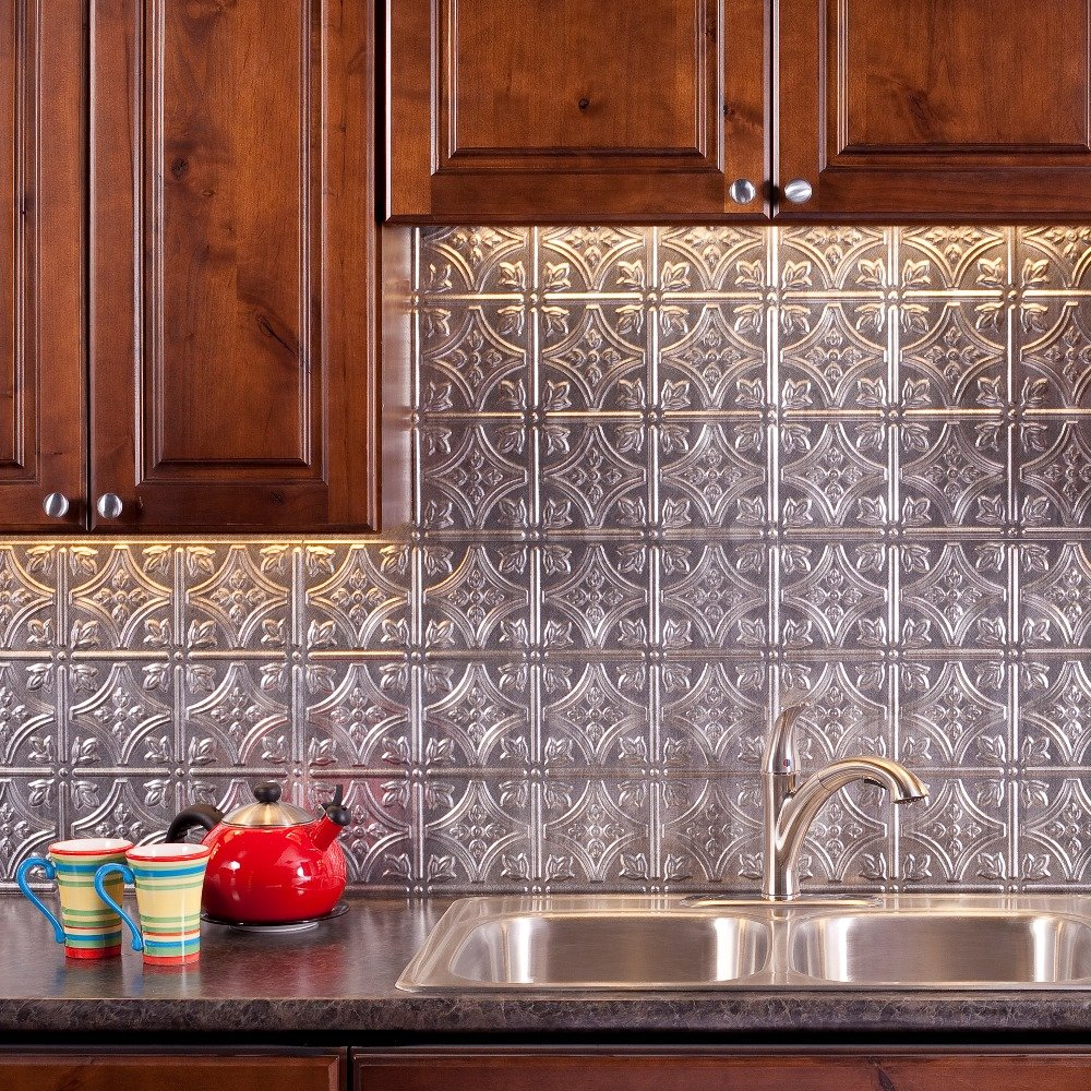 Fasade Easy Installation Traditional 1 Crosshatch Silver Backsplash Panel for Kitchen and Bathrooms (18'' x 24'' Panel) by Fasade (Image #1)