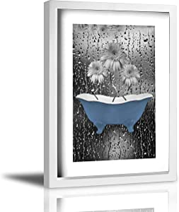 """Coolertaste Blue Gray Bathroom Daisy Flowers Raindrops Rustic Canvas Wall Art Prints Framed Picture Wall Decor Vintage Bathroom Decor Ready To Hang 9"""" X 13"""""""