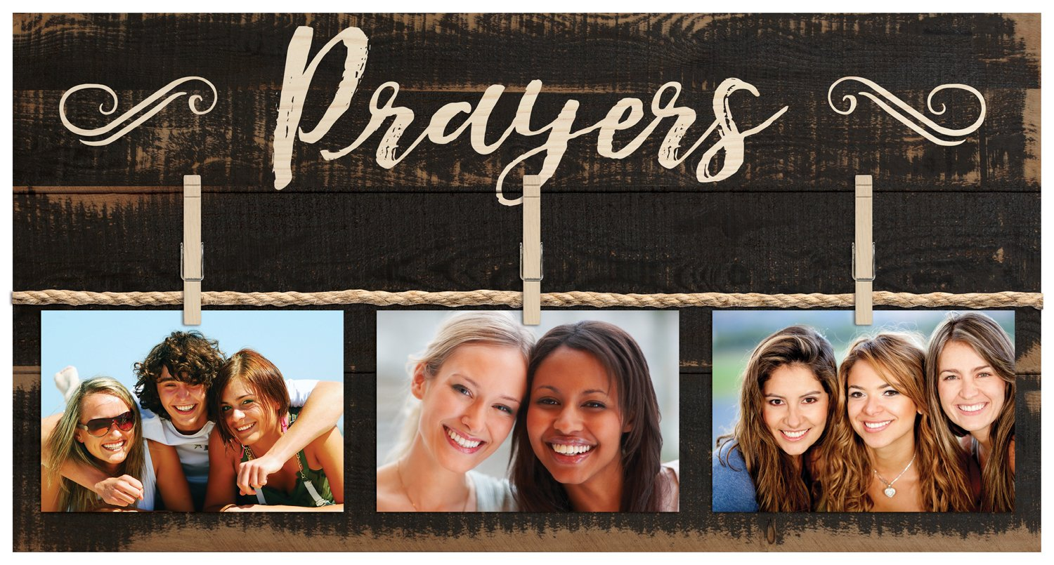 Prayers Script Black 11 x 20 Inch Solid Pine Wood Clothesline Clipboard Photo and Momento Display