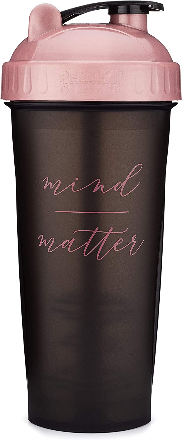 Motivational Quotes on Performa Perfect Shaker Bottle, 28 Ounce Classic Protein Shaker Cup, Dishwasher Safe, Perfect Gym Fitness Gift (Mind Over Matter - Black/Rose - 28oz)