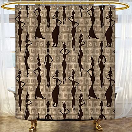 African Print Shower Curtain Modern Pattern With Women Silhouette Geometric Curvy Forms And Stripes Fabric