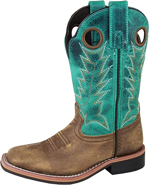 Smoky Childrens Jesse Embroidered Leather Western Cowboy Boot Brown Turquoise