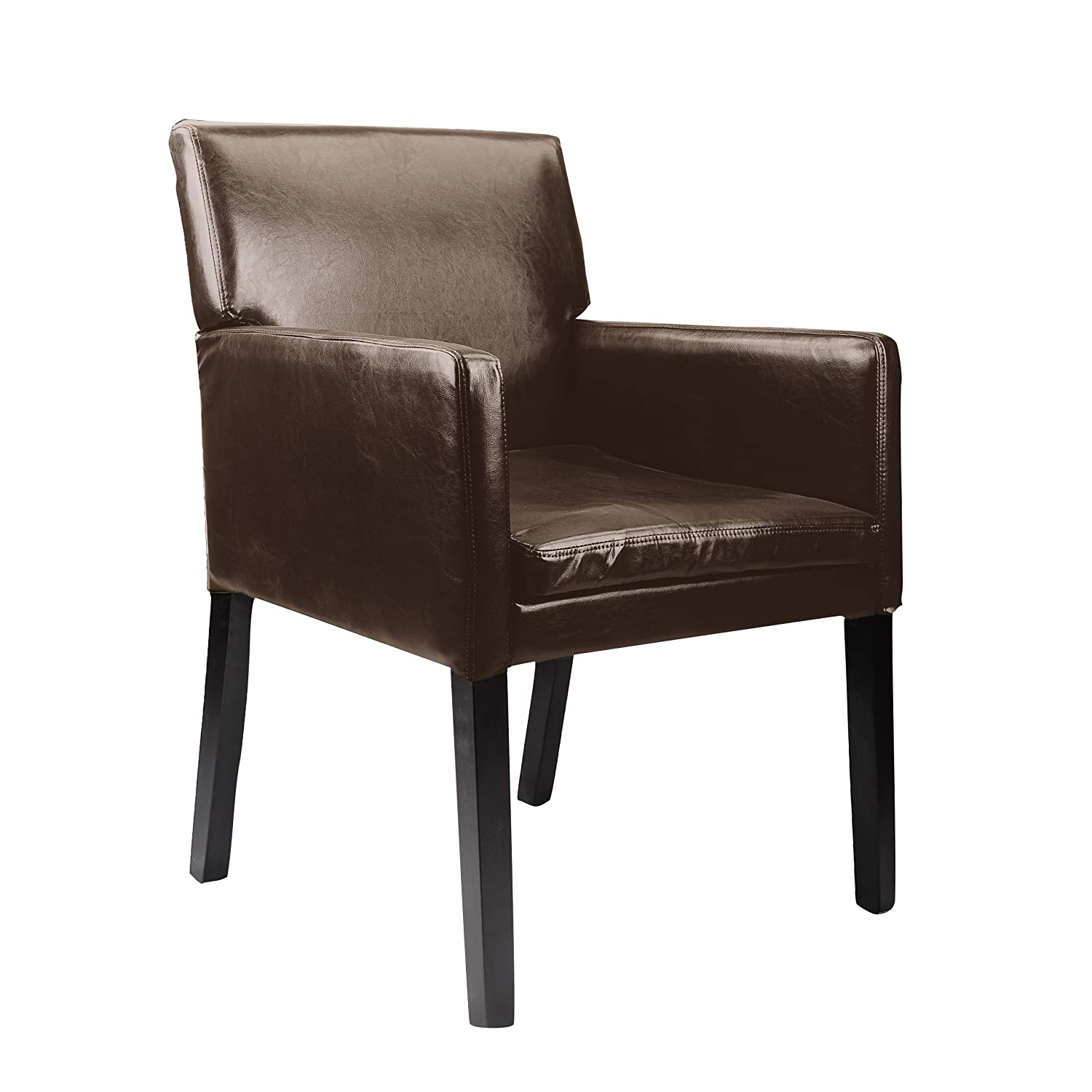 CorLiving LAD-629-C Antonio Accent Chair in Dark Brown Bonder Leather