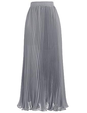 Elegant Empire Waist Pleated Skirt Full Length Size M KK614-3 Silver Grey 2138426039ec