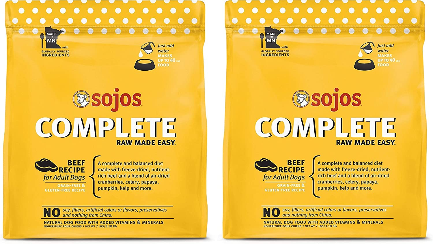 SOJOS 2 Pack of Beef Complete Raw Freeze-Dried Dog Food, 7 Pounds Each, Grain- and Gluten-Free