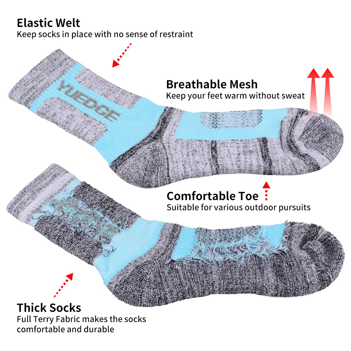 YUEDGE 3 Pairs Women's Women's Wicking Cushion Crew Socks Performance Workout Athletic Sports Socks (L) by YUEDGE (Image #3)