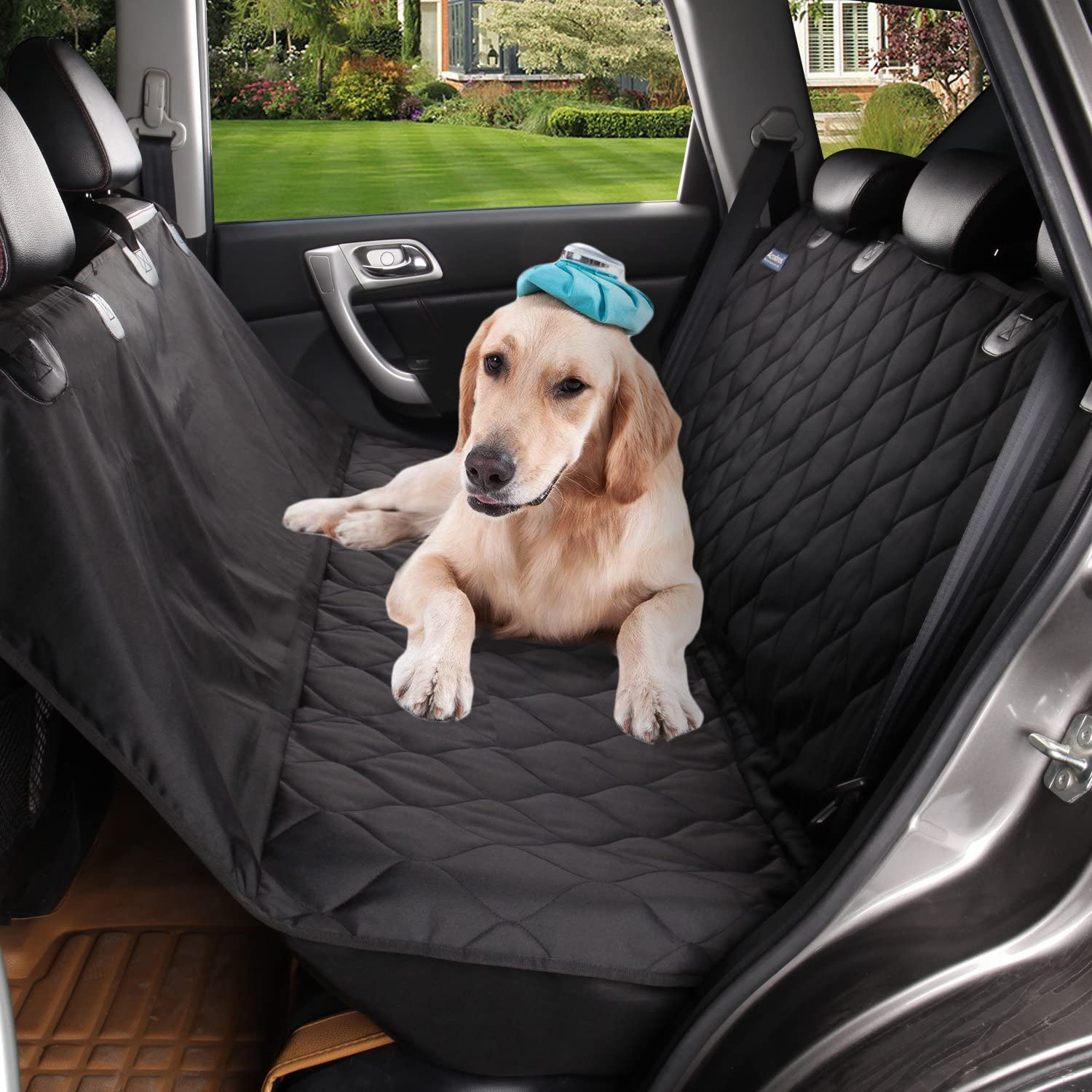 Pet Dog Car Seat Cover for Back Seats Three Sizes to Neatly Fit Cars, Trucks SUVs, Exclusive Seat-Hugging Side Flaps, Extra Strong Construction Details, Hammock Style