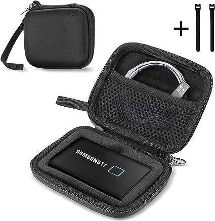 ProCase Estuche de Viaje para SSD Externo T7 Touch / T7 Portable SSD, Caja Compatcta Antigolpes para Disco Duro Sólido Externo Samsung T7 500G 1TB 2T -Negro: Amazon.es: Electrónica