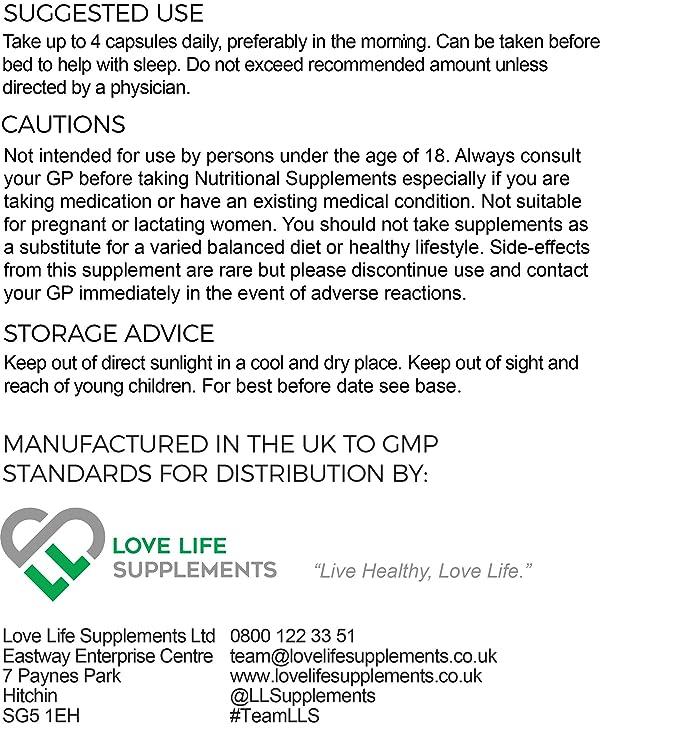 Love Life Supplements - Magnesio bisglicinato quelato, 2500 mg (250 mg de magnesio), 240 cápsulas/60 porciones, forma altamente biodisponible de magnesio, ...