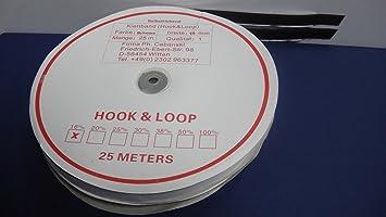 1buy3-25m Klettband selbstklebend 16mm Schwarz 25m Haken- und 25m Flauschband